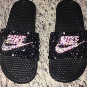 Hand made bling Nike flops